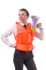 Young woman with vest and loudspeaker on white