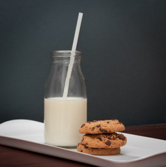 Milk and cookies on serving tray