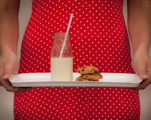 Milk and cookies served vintage style