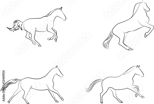 horses silhouette drawing
