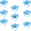 Weather cartoon snow cloud set 006