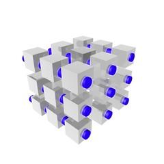 quadrati con tubi blu