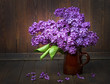 pink lilac and old wooden background