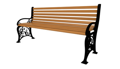 Panchina in legno, 3d, rendering, Sfondo Bianco
