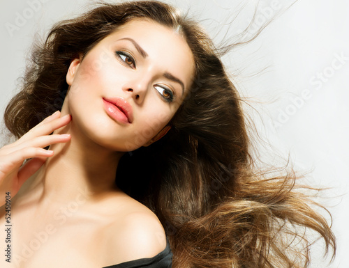 Beauty Woman portrait with long hair. Beautiful Brunette Girl