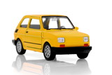 Cult small  yellow compact  city car on white poster