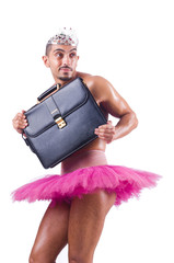 Man in tutu with briefcase on white