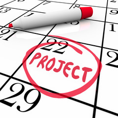 Project Start or Finish Date Circled on Calendar Day