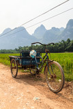 Chinese transportation in a Li river mountain landscape