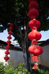 Red lantern in a street