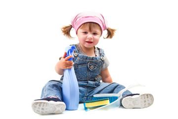 Sweet little girl doing housework