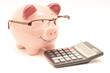 Leinwanddruck Bild - Pink Piggy Bank With Calculator