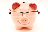 Smiling Pink Piggy Bank With Glasses