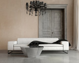 Vintage classic elegant living room with sofa and chandelier