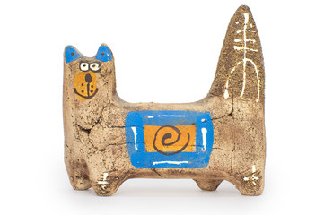 Painted clay figure of a cat on all fours