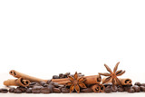 Fototapety Coffee and star anise on white