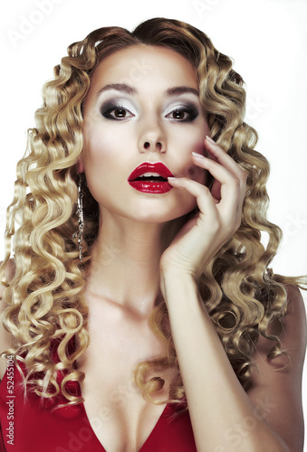 Frizzle. Sexy Bright Blonde with Curly Hair. Red Sensual Lips