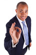 African American business man making ok gesture with the hand -