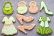 Shortbread biscuits decorated as fashion items.