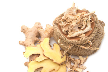 Fresh and dry Ginger, asian herb and spice