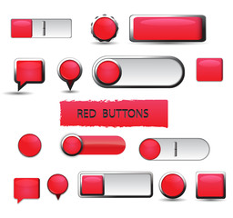 Web Buttons Red Collection on White