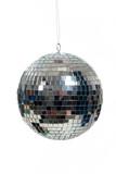 Silver, mirrored Disco ball on white