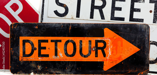 Assorted traffic/road signs on a white background
