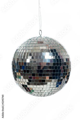 Leinwandbild Motiv Silver, mirrored Disco ball on white
