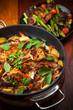 Roasted roasted rabbit on vegetables