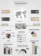 RETRO INFOGRAPHIC DEMOGRAPHIC WORLD MAP ELEMENTS 2 BROWN