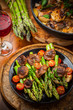 Roasted mushrooms with green asparagus