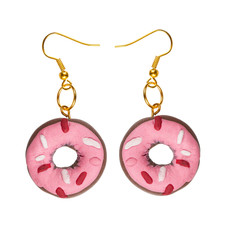 Earrings made of plastic  pink cake in the shape of a ring. coll