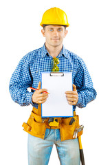 a worker holding clipboard