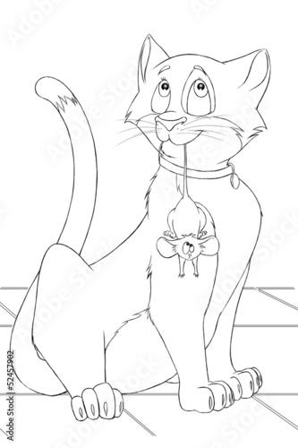 Кот и мыши раскраска