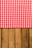Background with tablecloth over wooden deck tabletop