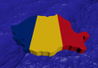 Romania map flag in abstract ocean illustration