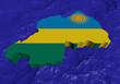 Rwanda map flag in abstract ocean illustration