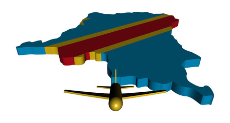 Plane and Democratic Republic of Congo map flag illustration