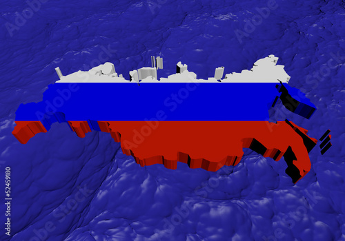 Russian Federation map flag in abstract ocean illustration
