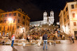 Piazza di Spagna night peoples life and Trinita dei Monti
