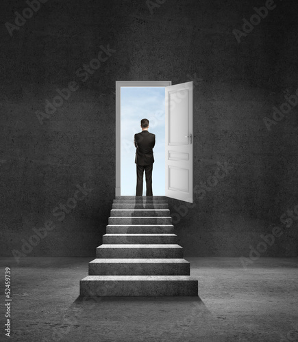 man and door in wall