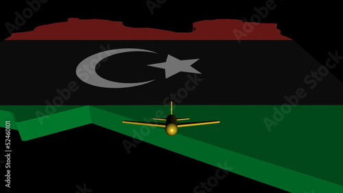 Plane taking off from Libya map flag animation