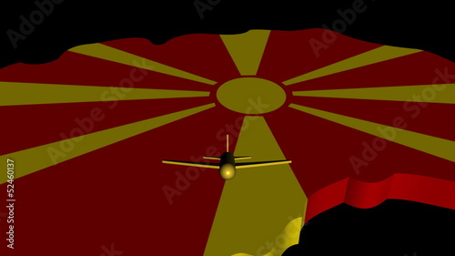 Plane taking off from Macedonia map flag animation