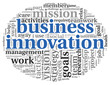 Business innovation concept in word tag cloud
