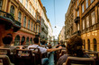 canvas print picture - Sightseeing bus on Budapest streets
