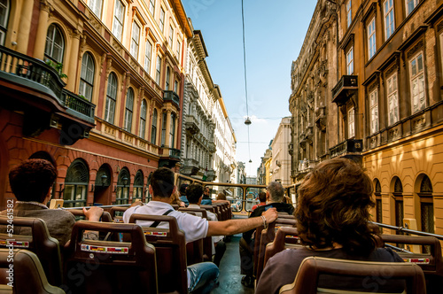 canvas print picture Sightseeing bus on Budapest streets
