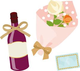ワインと花束のギフト