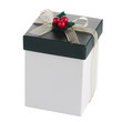 White and green box with gold bow