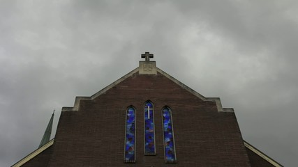 Dark Clouds Moving over a Church Time Lapse 1080p
