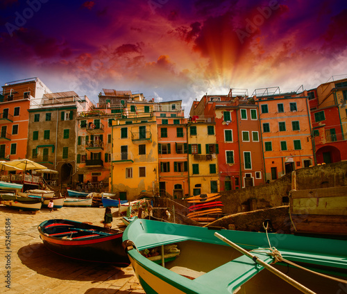 Cinque Terre, Italy. Wonderful classic view of Boats with Colour